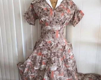 Wonderful Vintage 1950's Cotton Novelty Print Asian Fabric Dress -- Gored Full Skirt -- Size L