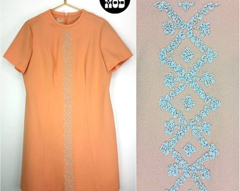 Fabulous Vintage 60s Peach Shift Dress with Stone-Like Beading Embellishment - AS IS