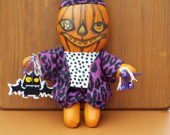 Pumpkin Doll Trixie Halloween Fall Decor Folk Art OOAK