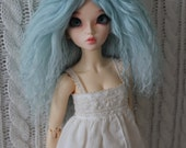 RESERVED listing for Katia P - Light Aqua Blue mohair wig for Minifee / MSD