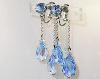 Vintage SilverTone Blue Aurora Boralis Teardrop Crystal Dangling Clip Earrings  (E-1-3)