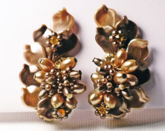 Vintage Taupe and Brown Beaded Clip Earrings  (E-1-6)