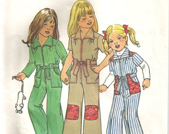 """So 70s! Girls Pattern Jumpsuit Coveralls One Piece Childs Childrens size 6 25"""" breast"""