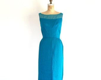 1960s Blue Chiffon Dress V-Back Train Vintage Sixties Formal Party Dress XS/S