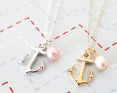 Silver Anchor necklace - simple silver necklace, Freshwater Pearl, Anchor, mentor, bridesmaids, best friends, sisters, mum, navy