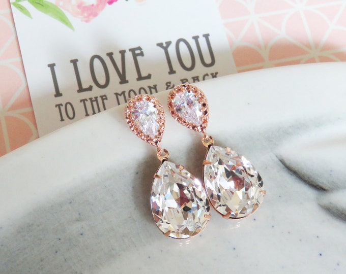 Bridesmaid Earrings Necklace Set, Rose Gold Jewelry Set, Personalized bridal shower gifts idea, Wedding Jewelry, Swarovski crystal, sandra