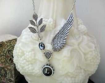 Typewriter Jewelry - Typewriter Key Necklace - Steampunk  Letter L with Wings and Swarovski