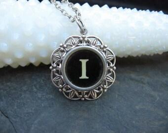Typewriter Key Jewelry - Letter I Charm Necklace
