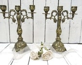 RESERVED for Piper-Brass Candelabra, Ornate Brass Candles, Kitchen Decor, Shabby and Chic Dining Decor, Wedding Candle Decor, French Cottage
