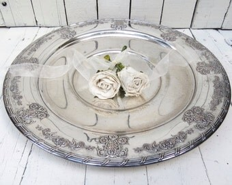 Vintage Silverplate  Platter, Large Ornate Tray, Holloware, Dining Decor, Serving Piece, Silver Tray, Oneida Community Ardsley Tudor