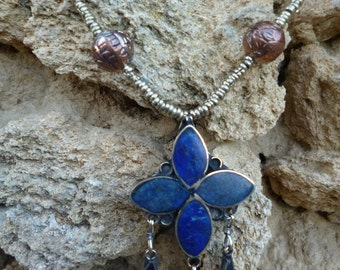 Handmade Afghan Flower  Necklace. Lapis Lazuli.  Silver.  Tribal.