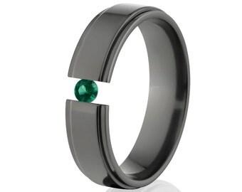 Tension Set Ring, Uniquely You, Black Zirconium, Emerald-  BZ-6RC-P-Tension