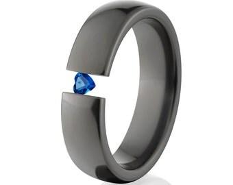 Tension Set Rings, Heart Sapphire, 6mm Black Ziconium, BZ-6HR-P-Heart-Tension