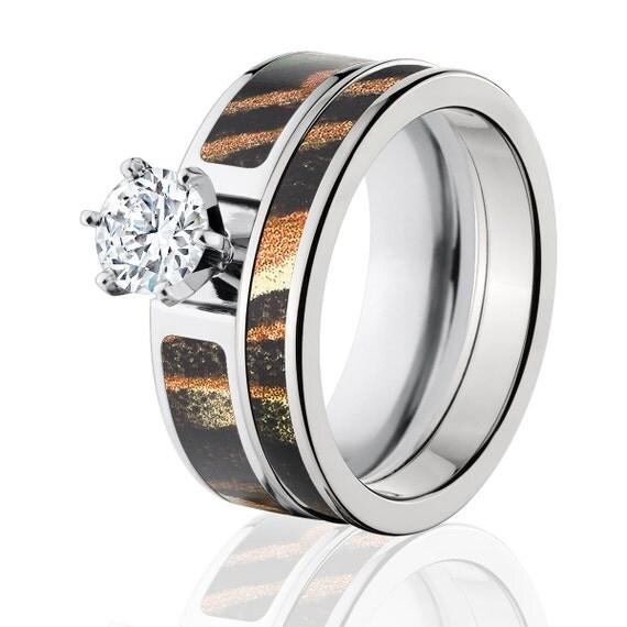 Cobalt Camo Bridal Set With 1ct Round CZ Mossy Oak