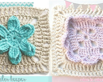Crochet granny square patterns #ColorKeeper and #NiceIsNice - PDF Pattern Basic Collection (Instant Download)