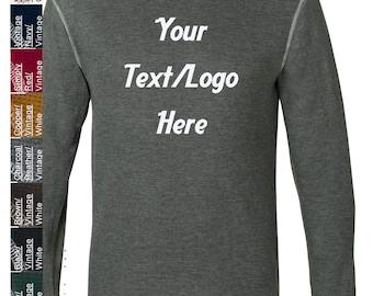 Custom Made J. America - Vintage Long Sleeve Thermal T-Shirt - 8238 Vinyl or Glitter Print Customized All Colors