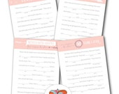 Wedding Mad Libs - Set of 4 Unique Stories with key for back