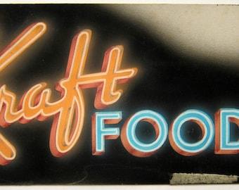 original KRAFT FOODS paste up illustration NEON sign
