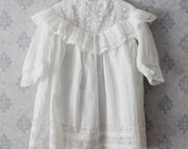 Vintage Victorian to Edwardian Soft White Cotton Lace Ruffled Child's Dress