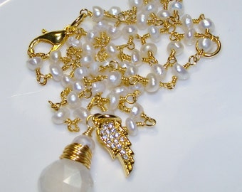 Angel wing mystic pearl chalcedony briolette gemstone fresh water pearl necklace  Sacred Jewelry pamelia designs