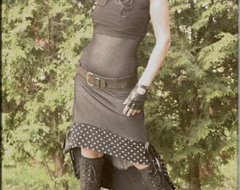 SALE - Dress - Strapless Sundress - Steampunk - Burning Man - Denim Blue and Polka Dots - Gypsy - Bohemian - Halter Dress - Size Medium
