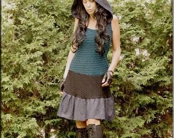Dress - Steampunk - Bohemian Gypsy - Burning Man - Playa wear - Boho Fashion - Sexy - Teal and Black - Size Medium