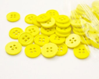 """1/2"""" (13 mm) buttons, Yellow, Qty 100"""