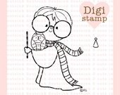 HP Wizard Digital Stamp - Wizard Digital Stamp - Digital Wizard Stamp - HP Art - Wizard Card Supply - Wizard Craft Supply