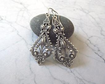 Adriana Earrings - Victorian Style Silver Earrings