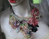 RESERVED   Isadora necklace, bold, delicate  shabby chic embroidered  statement necklace