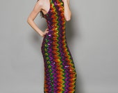 Vtg 90s Dope Vibrant Rainbow Clubkid Midi Body Con Bandage Sequin Cyberghetto Rave Dress S