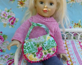 PDF PATTERN - Tea Party Doll Purse - For 18 inch Dolls - Bow - Knotted Tie Strap - Pom Pom Fringe - Velcro Closure