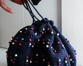 1940s Navy Blue, Red, & White Crochet Beaded Drawstring Evening Bag