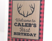 Lumberjack Party Sign, Lumberjack Birthday Sign, Rustic Sign, Rustic Party Decoration, Woodland Birthday Decoration - 8x10