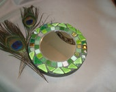 MOSAIC MIRROR, Accent Mirror, Small Round Mirror, Wall Art, Wall Hanging, Green