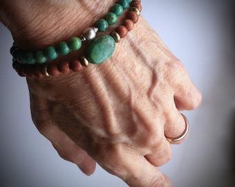 Mens Bracelet Genuine Turquoise Tribal Bayong Wood Beaded Bracelet Ethnic Jewelry Boho Southwestern Native Jewelry Unisex Yoga Bracelet
