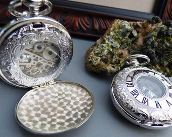 Silver Mechanical Pocket Watch, Engraved Double Cover, Men's Watch, Groomsmen Gift - Gift Set - Watch - Item MPW113