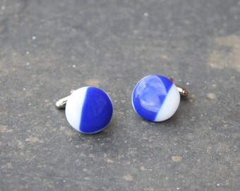 Fused Glass Cuff-links - Blue and White