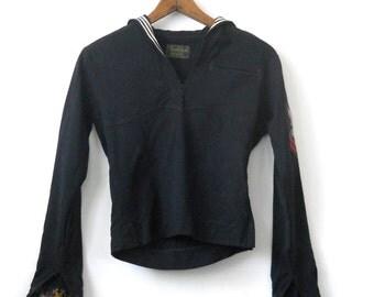 Vintage Sailor Military Shirt Jumper • Navy Wool Uniform Shirt Naval •  Naval