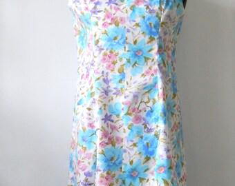 Vintage Cotton Summer Day Dress • Large Vintage Summer Floral Shift • 1960s Sleeveless Dress Pink and Blue Floral