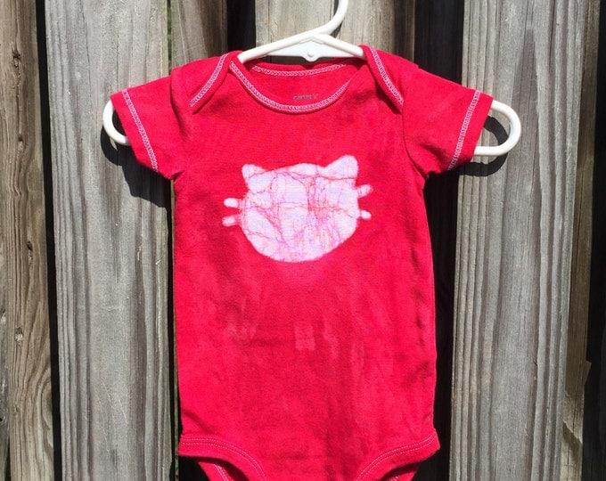 Cat Baby Bodysuit (6 months), Baby Cat Bodysuit, Red Cat Bodysuit, Red Cat Baby Gift, Gender Neutral Baby Gift, Baby Shower Gift