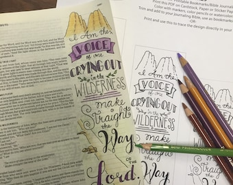 Bible Journaling Verse Art - Margin Art - Bookmark featuring John 1:23 – The Voice in the Wilderness