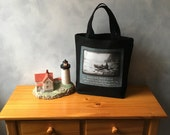 Afternoon Boating - Reproduction of a Vintage Photograph on a Tote Bag - Black Canvas Bag - On the Go Bag - Small Essentials Canvas Tote Bag