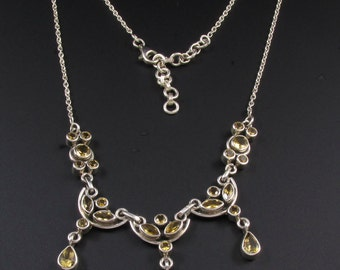 Sterling Silver Citrine Necklace, Sterling Silver Necklace, Tribal Necklace, Boho Necklace, Yellow Necklace, November Birthstone