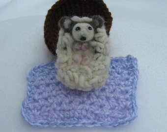 OOAK Baby Hedgehog With Bed & Blanket Needle Felted Soft Sculpture