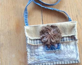 Handmade Artsy Crossbody Bag, Upcycled, Neutral Colors