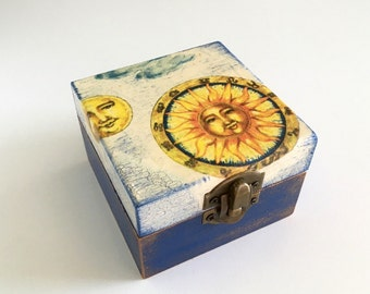 Wooden jewelry box with sun and moon decoupage in blue and cream