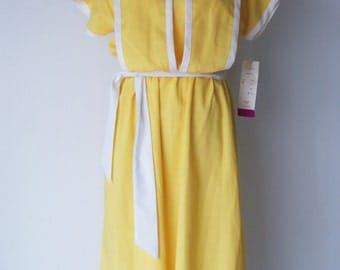 VIntage Yellow Linen Blend Dress Deadstock with Tags