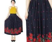 80s Rose Print Skirt Navy Blue Skirt Pleated Floral Skirt Vintage Floral Print Skirt High Waisted Skirt Knee Length Skirt Midi Pockets (L)