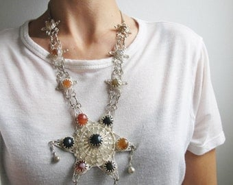 Vintage Ethnic Indian Necklace Sterling Silver STAR Necklace Multi Color Agate Stones Ornate Filigree Necklace Boho Statement Necklace E753